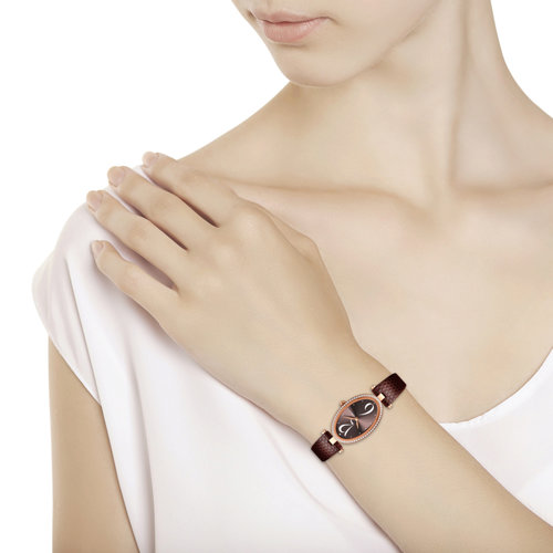 Женские золотые часы с бриллиантами (236.01.00.100.07.07.2) - фото №3