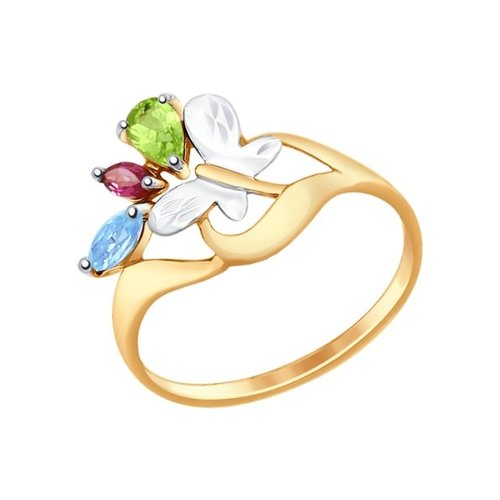 Кольцо из золота «Бабочка» с полудрагоценными вставками
