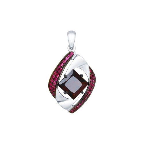 Подвеска из серебра с красным ситаллом и фианитами