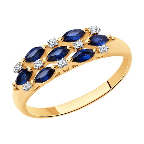 Кольцо из золота с бриллиантами и сапфирами (2010670) - фото