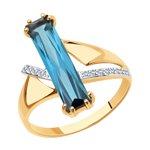 Кольцо из золота с синтетическим ситалом и фианитами