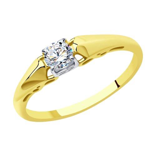 Кольцо из желтого золота с фианитом (017559-2) - фото
