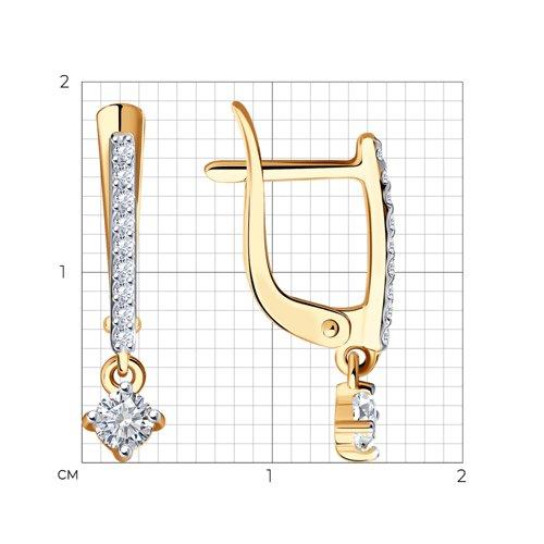 Серьги из золота с фианитами (027477) - фото №2