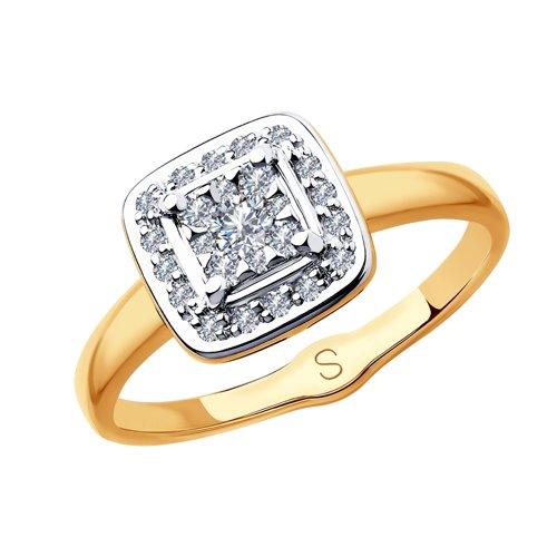 Кольцо из комбинированного золота с бриллиантами (1011873) - фото
