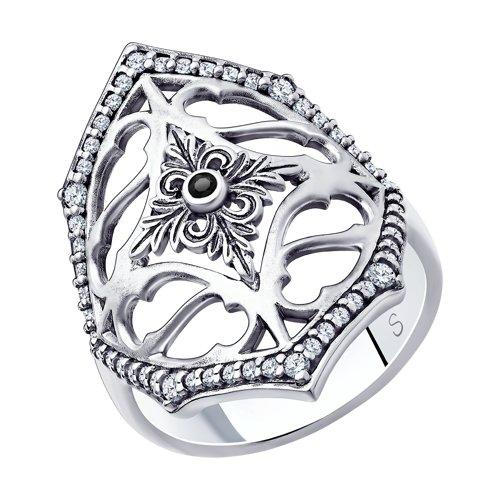 Кольцо из серебра с фианитами (95010127) - фото