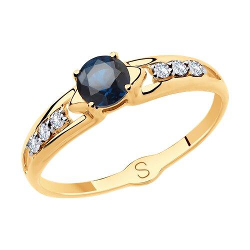 Кольцо из золота с фианитами (018043) - фото