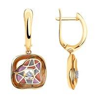 Серьги из комбинированного золота с эмалью и бриллиантами