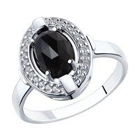 Кольцо из серебра с чёрным агатом и фианитами