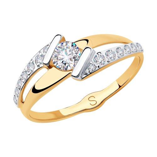 Кольцо из золота с фианитами (018208) - фото