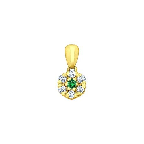 Подвеска SOKOLOV из жёлтого золота с бриллиантами и изумрудом недорого