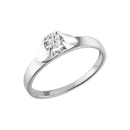 Помолвочное кольцо из белого золота с бриллиантом (1011186) - фото