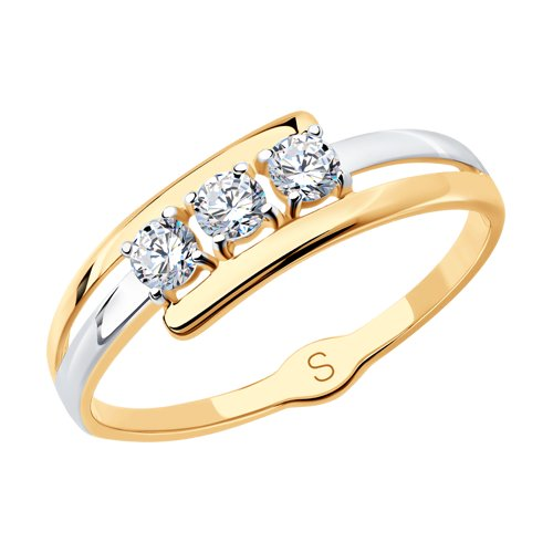 Кольцо из золота с фианитами (017900) - фото