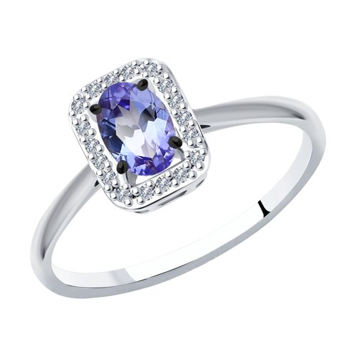 Кольцо из белого золота с бриллиантами и танзанитом
