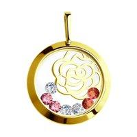 Подвеска из желтого золота с минеральным стеклом и бесцветными, красными и розовыми фианитами