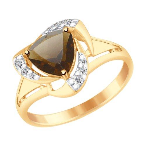 Кольцо из золочёного серебра с раухтопазом и фианитами (92011493) - фото