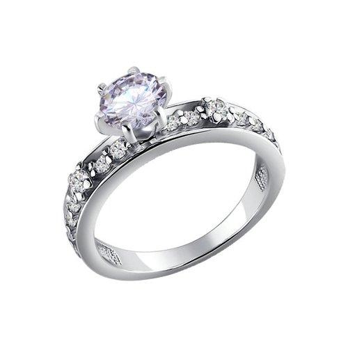 Кольцо из серебра с фианитами (94010287) - фото