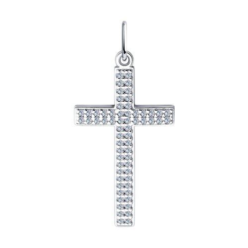 Крест из белого золота с фианитами (033935) - фото