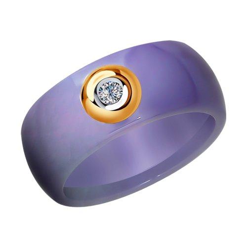 Керамическое кольцо с золотом и бриллиантом (6015058) - фото