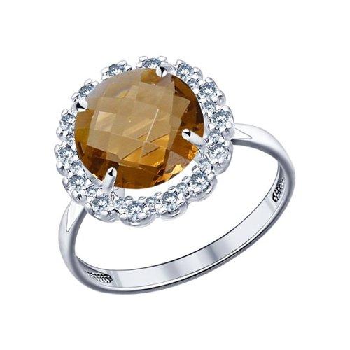 Кольцо SOKOLOV из серебра с коричневой стеклянной вставкой и фианитами
