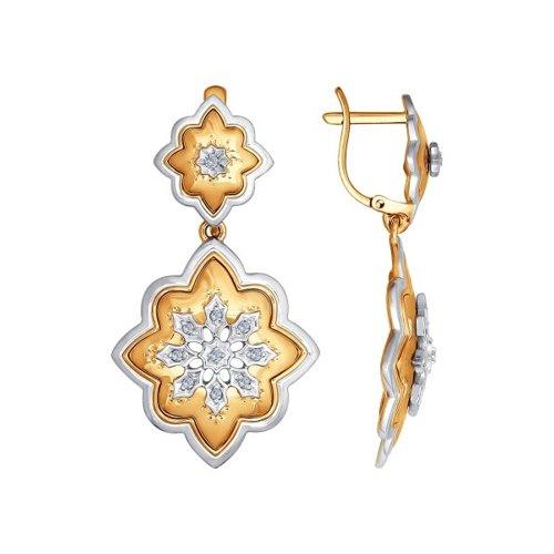 Серьги длинные из комбинированного золота с бриллиантами