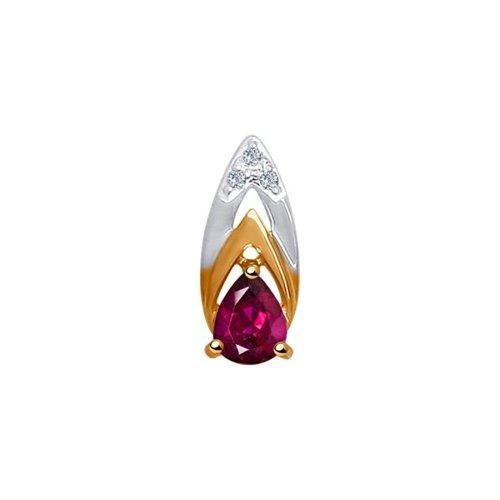 Подвеска из золота с бриллиантами и рубином (4030108) - фото
