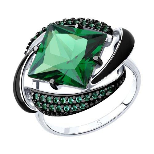 Кольцо из серебра с эмалью с зелёным ситаллом и зелеными фианитами (92011302) - фото