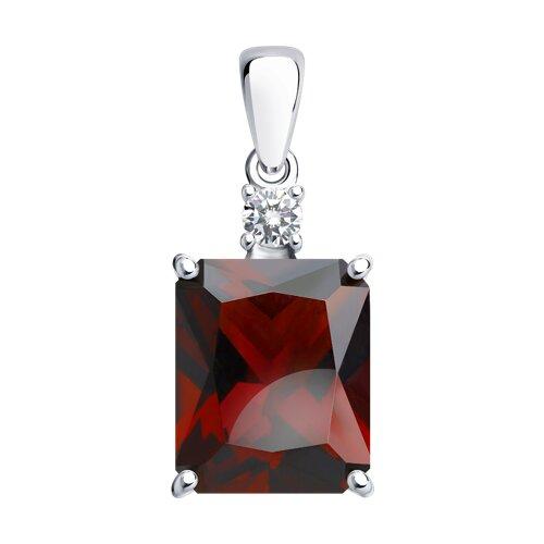 Подвеска из серебра с красным ситаллом и фианитом