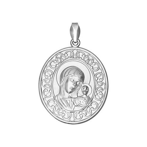 Иконка из серебра с изображением Казанской Божьей Матери