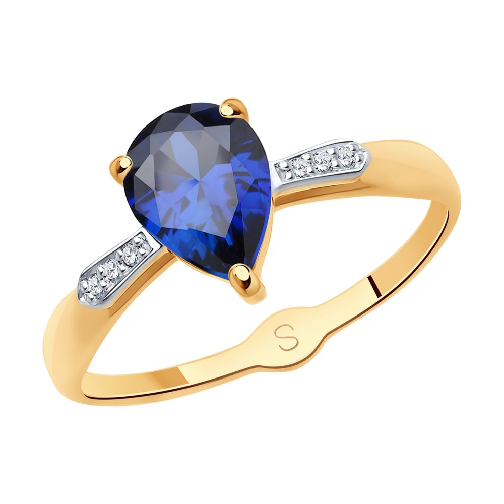 Кольцо SOKOLOV из золота с синим корундом (синт.) и фианитами кольцо из серебра с синим корундом синт и фианитами