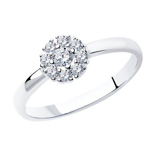 Кольцо из серебра с фианитами (94011710) - фото