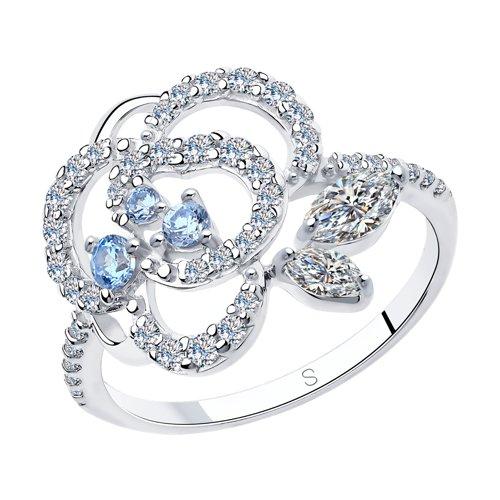 Кольцо из серебра с фианитами (94013019) - фото