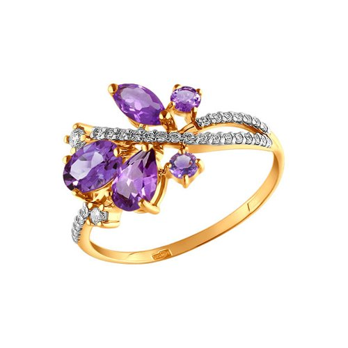 Кольцо из золота с аметистами и фианитами