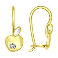 Серьги из желтого золота с алмазной гранью с фианитами