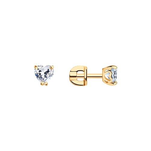 Серьги из золочёного серебра с фианитами (93020648) - фото