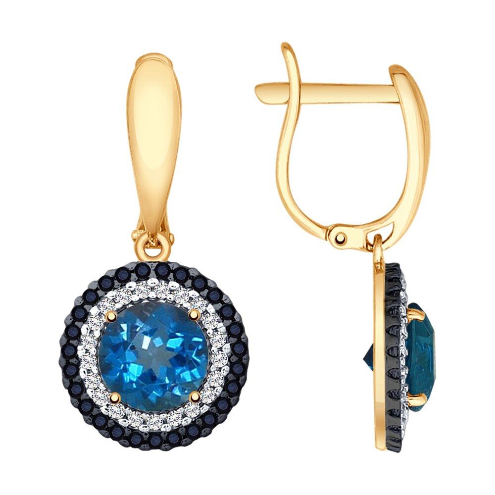 Серьги SOKOLOV из золота с синими топазами и бесцветными и чёрными фианитами подвеска из комбинированного золота с бесцветными и синими фианитами