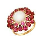 Кольцо из золота с родолитами и жемчугом