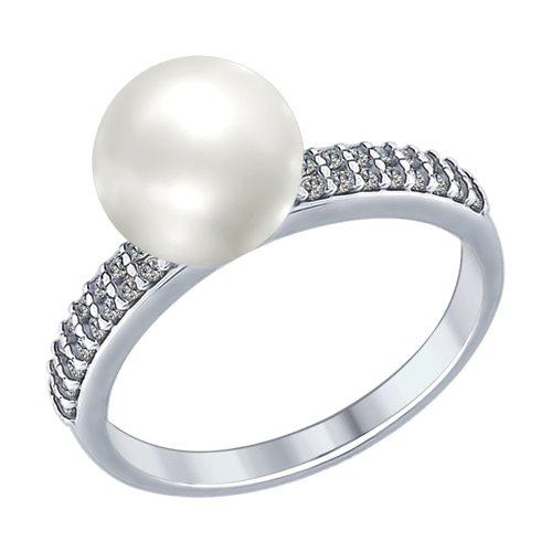 Кольцо из серебра с жемчугом и фианитами (94012337) - фото