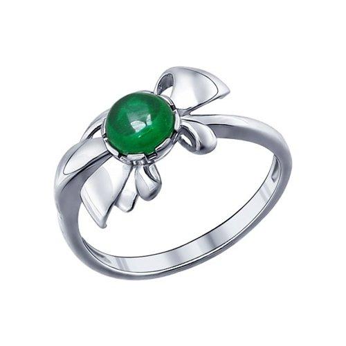 Кольцо из серебра с зелёным фианитом