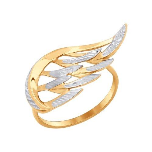 Золотое кольцо «Крыло» с алмазной гранью SOKOLOV золотое кольцо ювелирное изделие 01k616351