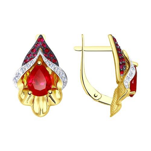Серьги из желтого золота с красными корунд (синт.) и фианитами (725102-2) - фото