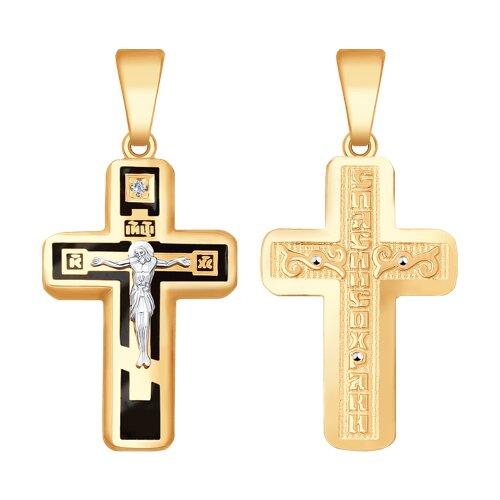 Подвеска- крест из комбинированного золота с эмалью и бриллиантом