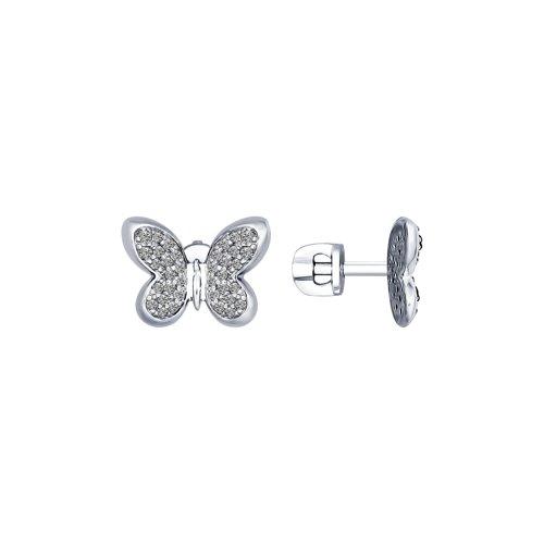 Серьги-пусеты из серебра с фианитами (94022440) - фото