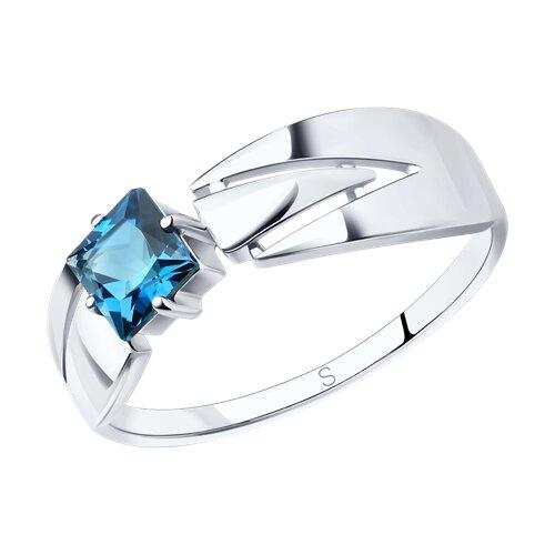 Кольцо из серебра с синим топазом (92011827) - фото