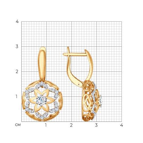 Серьги из золота с фианитами (027461) - фото №2