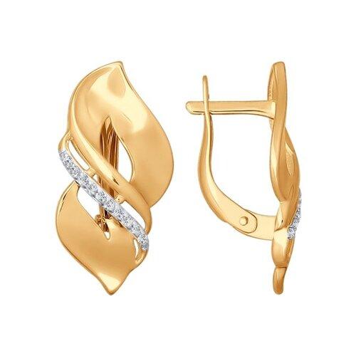 Серьги из золота с фианитами (026761) - фото
