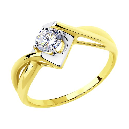 Кольцо из желтого золота с фианитом (018354-2) - фото