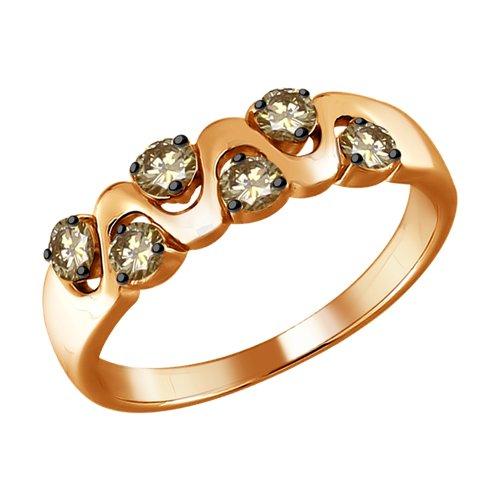 Кольцо из золота с коньячными бриллиантами (1011637) - фото