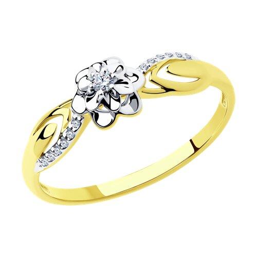 Кольцо из комбинированного золота с бриллиантами (1011402-2) - фото