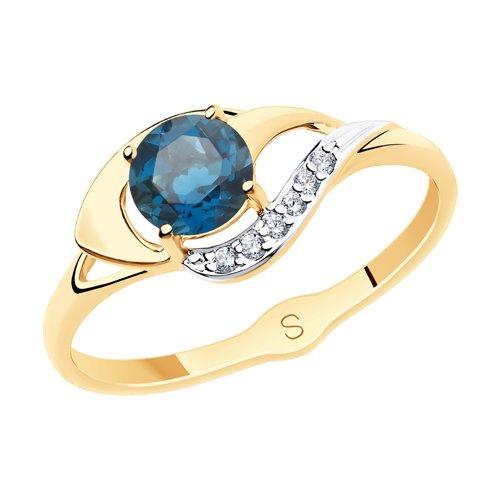 Кольцо из золота с синим топазом и фианитами (715571) - фото