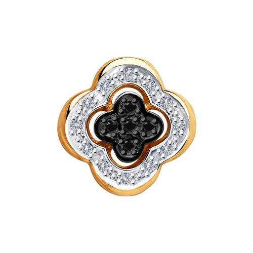 Подвеска из золота с бесцветными и чёрными бриллиантами (7030003) - фото